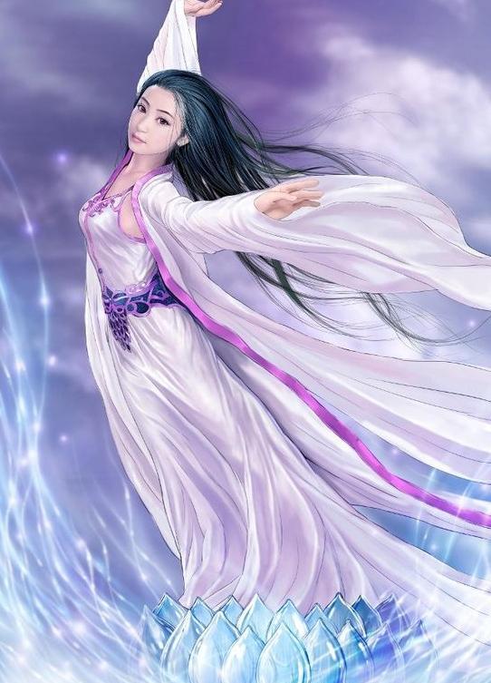 唯美手绘古装仙女_莲花座上仙女飞天,古装天仙手绘图片
