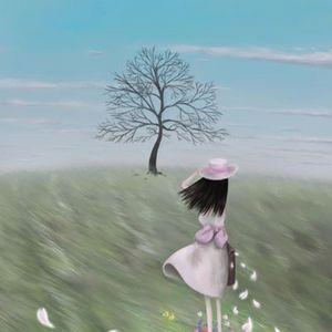 手绘漫画女孩海边背影图_背影图片